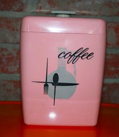 Retro pink coffee canister - Lustro Ware