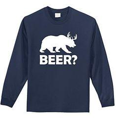 Comical Shirt Men's Beer Deer Funny Hunting Beer Shirt Mens L/S Tee Navy M, Size: Medium, Blue