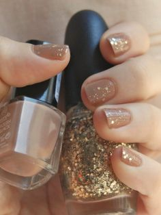 Photo posted by NailBar (Miami) on FaceBook. Nude w gold flecks