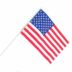 """These flags are the perfect parade flag.  Coming in a package of 12 at such a low  price.  The American flag is made of plastic and the flag itself is 6"""" long and 4"""" tall.  This flag is made in China. The flag stick on this USA flag is 9 1/2"""" long and is also made of plastic.  Show your Patriotic pride this forth of July or any day of the year with our great selection of Patriotic supplies from Party Supplies Delivered."""