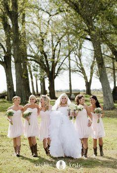 Blush bridesmaids dresses  |  Pink bridesmaids dresses  |  Cowboy boots  |  Farm wedding  |  Rustic wedding  |  Barn wedding  |  Alabama weddings  |  Aislinn Kate Photography