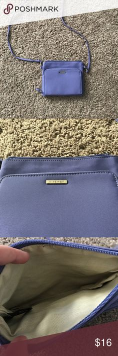 Nine West Lilac Purple Purse Nine West brand bright lilac purple colored one strap purse that could go over one shoulder or across the body! Has one small stain on the front ( see last pic ) and some staining on the inside as shown in pictures. Super cute! 100% polyester Nine West Bags Crossbody Bags