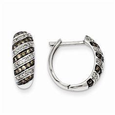 Sterling Silver 1/2ct. TDW Champagne Diamond Teardrop Post Earrings.