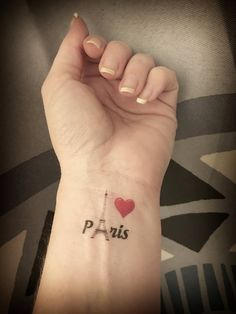 I Love Paris Eiffel Tower Tattoo On Left Wrist