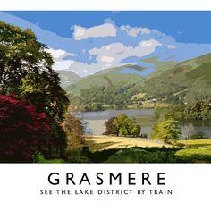 Grasmere (Railway Poster) by Andrew Roland Posters Uk, Train Posters, Shape Posters, Railway Posters, Poster Prints, Retro Posters, Snowdonia, British Travel, Retro Illustration