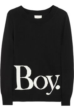 I don't know that I could wear this any other time, but if I were pregnant it would be so cute!   Boy. by Band of Outsiders | Intarsia wool sweater | NET-A-PORTER.COM