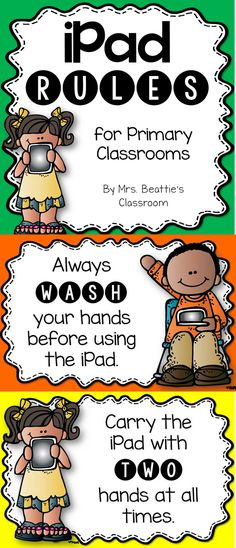 Have an iPad in your classroom? Grab these FREE iPad Rules Posters from Mrs. Beattie's Classroom!