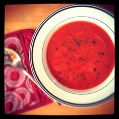 Roasted Red Pepper & Garlic Soup - recipe today at www.vevelicious.com - easy to make and delicious! #soup #recipes