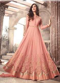 Fantastic Peach Net Embroidered Long Anarkali Gown