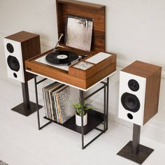 The Wrensilva Loft: Mid-Century Style, This Century Technology – Design Milk a hi-fi record console system with a retro look and wireless connectivity Petite Console, Record Player Stand, Record Player With Speakers, Record Cabinet, Vinyl Record Storage, Audio Room, Mid Century Style, Room Decor, Interior Design