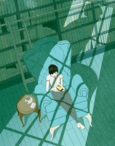 woman reading in library by Marcos Chin