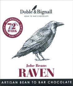 Doble & Bignal, Raven Johe Beans, 72% dark chocolate bar. A flavoursome 72% cocoa content dark chocolate bar using single variety Johe cocoa beans from the Northern mountains of Nicaragua. Notes of blackberries and citrus. High quality dark chocolate using pure ingredients. Fairly traded.