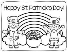 san patrick day coloring pages | Rainbow + pot of gold template | St Patrick's Day ...
