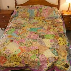 Queen Size Sari Patchwork Bedspread With Flower Design | Recycled Giftware | Handmade Gifts $299  #Oxfam #Christmas #fairtrade #patchwork