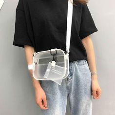 Causual Transparent Clear Woman Shoulder Bag Handbag Jelly Small Phone Bags with Card Holder Wide Straps Pvc Crossbody Bags Flap - My Favorites Bag For Women Furla Candy Bag, Pvc Transparent, Clear Tote Bags, Jelly Bag, Travel Bags For Women, Women Bags, Moda Casual, Crossbody Messenger Bag, Cute Bags