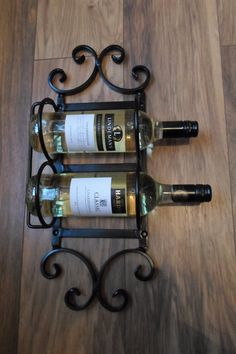 Quality Hand Crafted Wrought Iron 2 Bottle Wine Rack Made By Myself! Iron Furniture, Steel Furniture, Wrought Iron Gates, Wine Bottle Holders, Iron Work, Forged Steel, Metal Artwork, Bottle Art, Wine Cellar