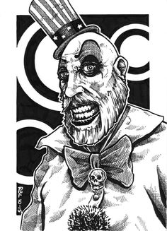 Inktober 2015 #28 Captain Spaulding from House of 1000 Corpses and The Devil's Rejects.