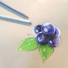 Art Drawings Sketches Simple, Pencil Art Drawings, Realistic Drawings, Colorful Drawings, Drawing Ideas, Colored Pencil Artwork, Color Pencil Art, Fruits Drawing, Marker Art