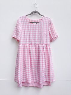 pink and white gingham apron style smock dress ml by bloombandit
