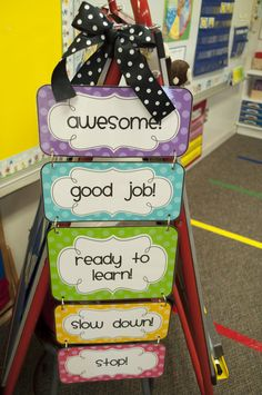 "Classroom Management {Freebies} This is a positive word chart.  The teacher can show the students where they scale on the chart.  The positive reinforcements motivate students to show good behavior.  As the students lose control there is a ""slow down"" that can give a warning.  The teacher can have incentives if the students show behavior that keeps them toward the top of the list. 7090"