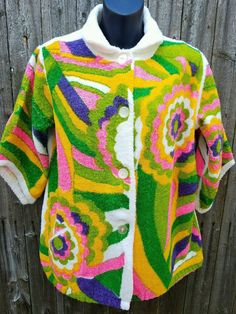 Vtg 1960's Psychedelic Mod Hippie Terry Cloth NEON Swimsuit Pool Cover Up Dress #fashionboutiqueMiamiFl