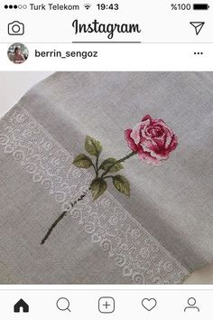 The perfect single Stem rose with lace filigree, great fabric pick. Cross Stitch Boards, Cross Stitch Rose, Cross Stitch Flowers, Rose Embroidery, Cross Stitch Embroidery, Needlepoint Stitches, Needlework, Cross Stitch Designs, Cross Stitch Patterns