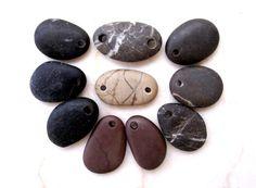 Authentic Beach Stone Jewelry Supplies, Focal jewelry beads, Flat beads