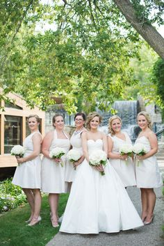 August 2014 | Ancaster ON | www.kjandco.ca | KJ and Co. planning and coordination at Kellie & Stephen's casual rustic chic wedding at Ancaster Mill | Photos By Lori Studios Photography | bridesmaids in mix and match Alfred Sung bridesmaid dresses in gold champagne