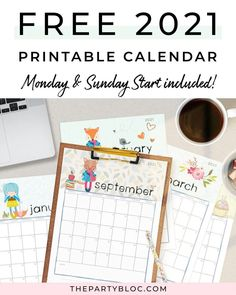 Download your free 2021 printable calendar now! 2021 is just around the corner, and this adorable free printable monthly calendar will help you stay organized and keep track of your birthdays, events and appointments. This free dowloadable pdf calendar is sized for US letter and includes versions for Sunday or Monday start.