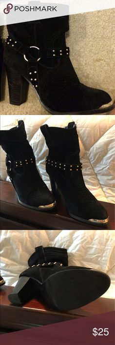 Suede black fancy cowboy boots with heels These boots are so cute! You will get lots of compliments! The heel is 3 3/4 inch and they are a size 10. Anca Shoes Ankle Boots & Booties