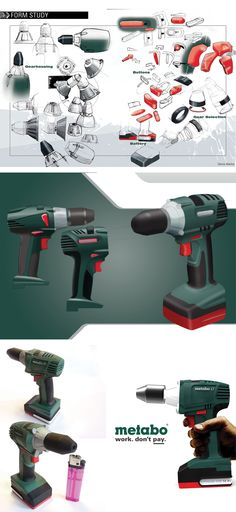 Redesign of a Metabo cordless drill. Cordless Drill, Home Depot, Product Design, Nerf, Sketches, Tools, Cordless Power Drill, Drawings, Merchandise Designs