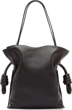 LOEWE - Black Leather Small Flamenco Bag. Knotted drawstring closure.