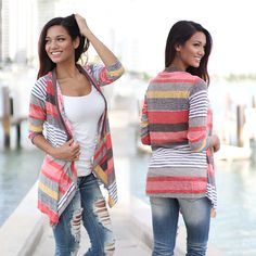 """- You'll stay warm and look AMAZING in this Coral and Yellow Cardigan. With this beautiful stripped pattern and bright colors you'll sure have people ask """"Where did you get that cardigan?"""" See other lovely tops at our online boutique! Warm Outfits, Simple Outfits, Pretty Outfits, Casual Outfits, Cute Outfits, Winter Outfits, Yellow Cardigan, Striped Cardigan, Cute Cardigans"""