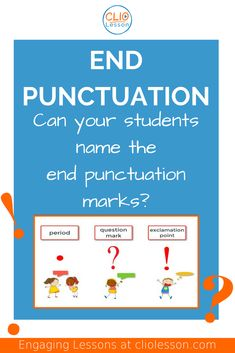 Students will be able to recognize and name each of the end punctuation marks. Students must be explicitly taught the three different types of end punctuation, how to select the appropriate end punctuation, and how to use them correctly! Kindergarten Vocabulary, Kindergarten Language Arts, Kindergarten Learning, Punctuation Activities, Writing Activities, Writing Skills, Learning Targets, Interactive Learning, Students