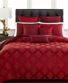 """Rich red bedding is sensuous and grown up, """"Hotel Collection Medallion King Duvet Cover"""""""
