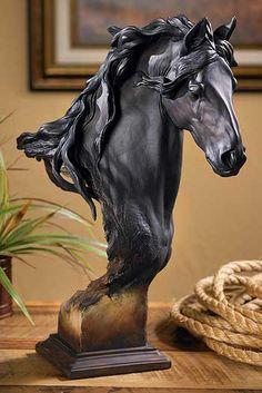 6567943781:Equus - LRG Fresian Horse Bust Sculpture by Arich Harrison