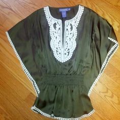 Vivienne Tam Silk Olive Green Peasant Blouse XS Gorgeous!!!! NWOT. Worn Only One Time! Elastic waist. Perfect Condition. A very pretty shirt by an Amazing Designer! Super flattering! Vivienne Tam Tops Blouses