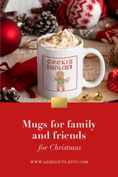 Cookie baking crew Christmas coffee or hot chocolate mug. Dishwasher and microwave safe. Visit our shop Asiri Gifts to see our collection of mugs.