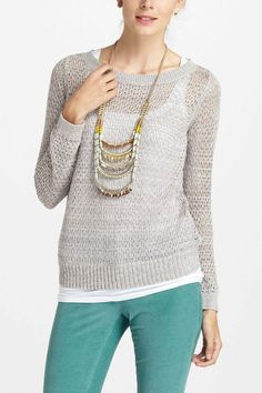 Very cute look. sweater. Glimmered Pointelle Pullover - Anthropologie.com