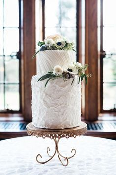 Modern wedding cake idea - wedding cake with textured frosting and anemone cake topper {Cake Life Bake Shop}