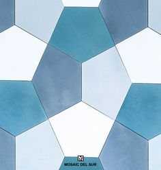 Mix of blue pentagonal cement tiles from Mosaic Factory Shapes Collection. Patchwork tiles for walls and floors
