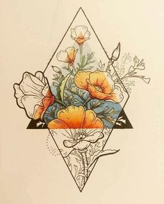 Tattoos I love this idea with my families birth flowers with an earth symbol in the tria. I love this idea with my families birth flowers with an earth symbol in the triangle. Back of my arm would be perfect. Body Art Tattoos, I Tattoo, Shape Tattoo, Sketch Tattoo, Tatoos, Tattoo Skin, Tattoo Drawings, Woman Tattoos, Tattoo Forearm