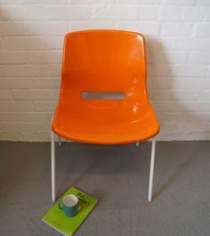 Vintage Svante Schoblom orange plastic chair by VintageActually on Etsy https://www.etsy.com/listing/264375325/vintage-svante-schoblom-orange-plastic