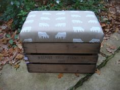 Vintage apple crate stool, with Dairy Cow fabric by Emily Bond.