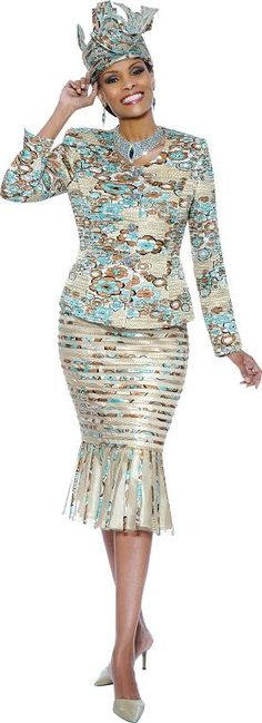 Susanna 3528 Women's Skirt Suit Spring 2014 Champagne Multi Silver Multi Sizes 6-26 $249.00