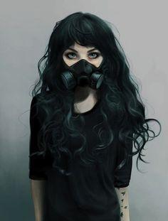 art, black hair, cyberpunk, draw, girl, green eyes, toxic, First Set on Favim.com