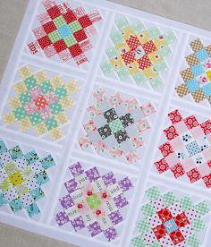 Great Granny Squared - Work in Progress - Red Pepper Quilts. As usual, I love what Rita dies with a classic pattern.