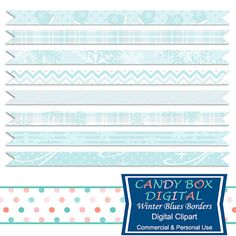 Winter Ribbon Border Clipart by CandyBoxDigital. Snowflakes, flannel, mittens. Great clip art for digital scrapbooks and journals, blogs and websites, graphic designs, invitations, and all kinds of paper craft applications. At our Etsy shop.