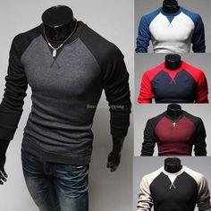 Men's Fashion Casual Slim Fit Long Sleeve T-shirt Tops Tee Shirts 5 Colors