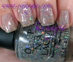 OPI Servin' Up Style. Great to layer over any color. One coat alone creates the perfect subtle sparkle. 4 coats creats perfect disco ball nails!